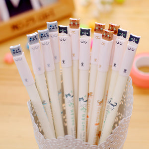 1pcs Lot Cartoon Cat Gel Pen Cute Color Pens Kawaii Stationery Canetas Material School Supplies