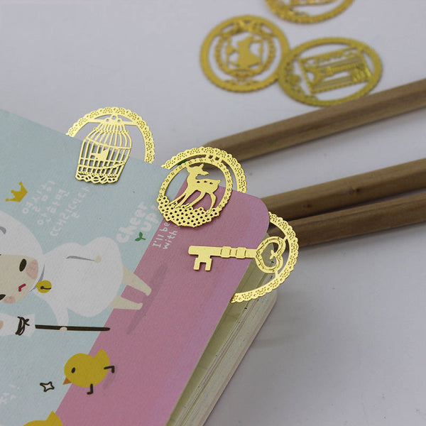 1pcs Cute Gold Metal Bookmark Fashion Birdcage Crown Cat Clips for Books Paper Creative Products Stationery