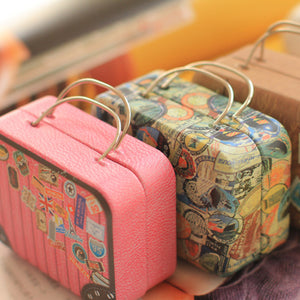 1pcs Europe type style vintage suitcase shape candy storage box wedding favor tin box cable organizer container household