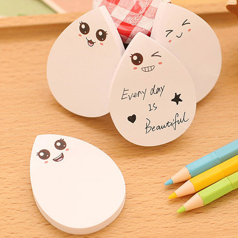 1pcs Kawaii Cute Water Drop Emoji Bookmark Planner Sticker School Supplies Stationery Sticky Notes Memo Pad Notepad Papelaria