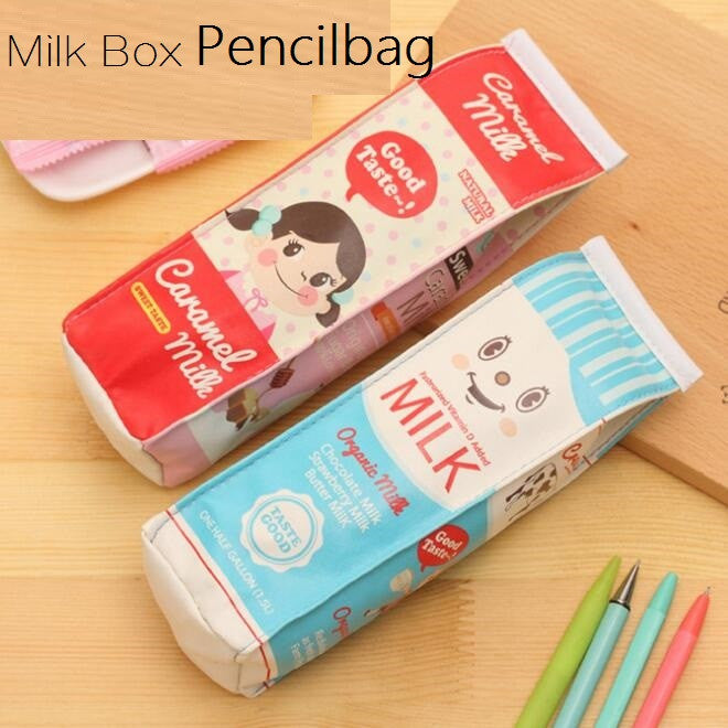 1pcs lot Milk Box waterproof PU Pencil case Students' gift Multifunction Organizer Bag School Office Supply Escolar Papelaria