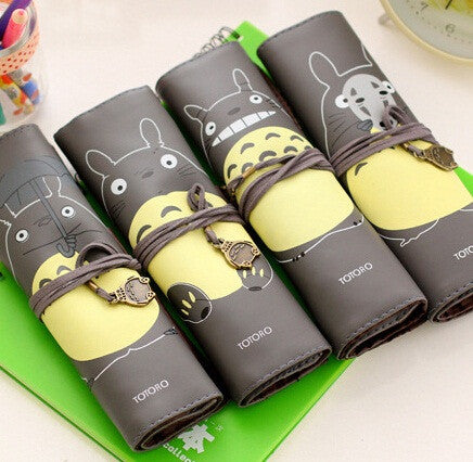 1pcs lot New Japan Totoro Roll style pencil bag Cartoon Cat series pencil case pouch Fashion gifts office supplier stationery