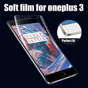 1pcs lot anti-explosion HD Clear Soft TPU material Screen Protector for oneplus 3 Full Cover Soft Protective Film Protecteor