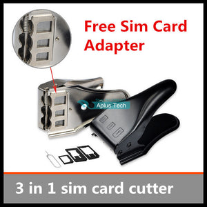 1pcs lot Unviersal 3 in 1 sim card cutter micro sim cutting tool nano card cutter for iphone 5s sim cards cutters Free shipping