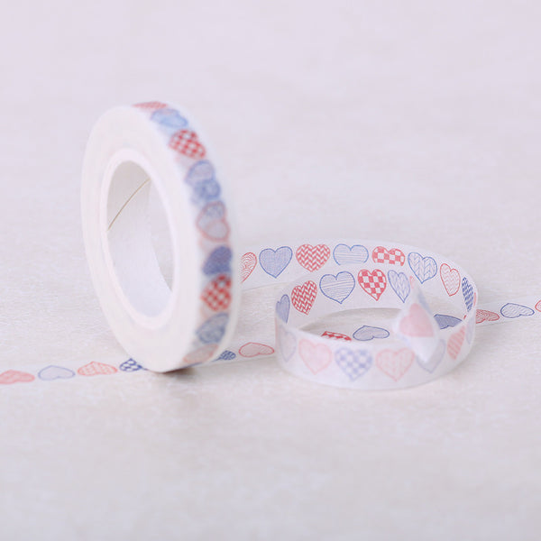 1PCS Masking Heart Washi Tape Adhesive Stationery Decorative DIY Handmade Cute Scrapbooking Office Adhesive Tapes