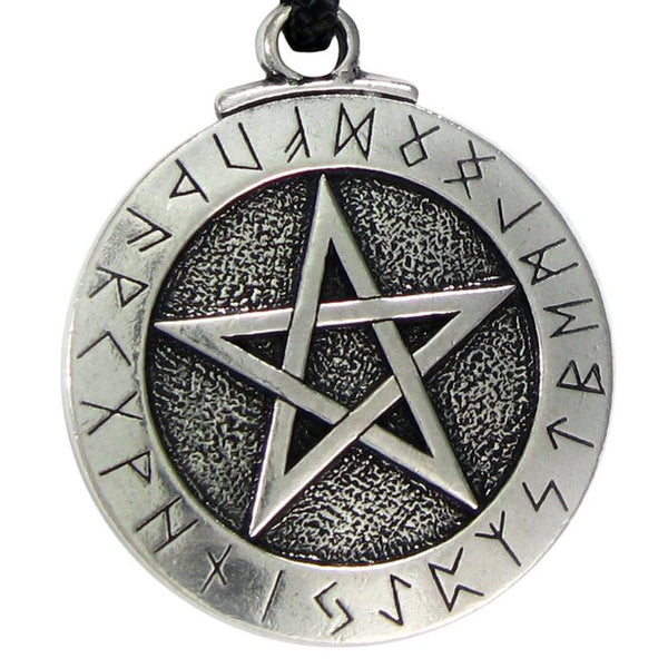 1PCS Norse Viking Pendant Necklace Large Rune Pentacle Pendant Pentagram Jewelry Wiccan Necklace Norse Pagan Runes