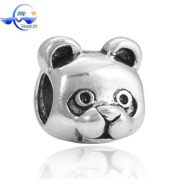 1Pcs Silver Plated Big Hole Enamel Litter Bear In Socks Bead Fits Pandora Charms Bracelets For Women DIY Joyeria