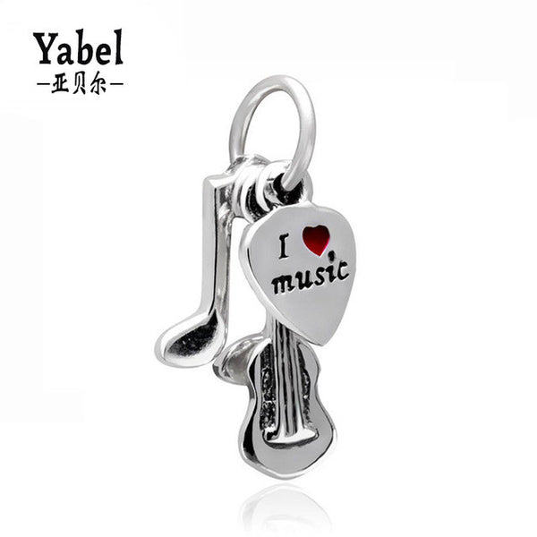 1Pcs Silver Plated I Love Music Dangle DIY Bead Charms Fits European Pandora Charms Bracelets For Women Fashion Jewelry