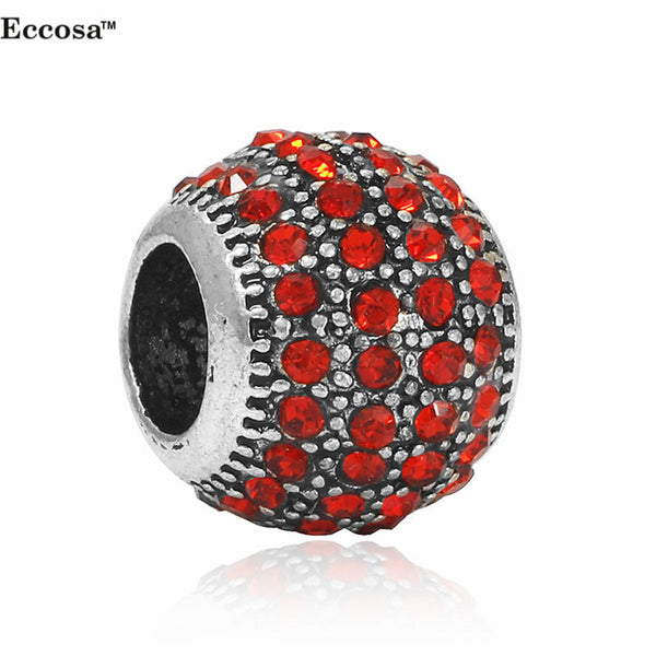 1Pcs Silver Plated Spacer Charm Bead Micro Pave Crystal Ball Beads Fit For European Pandora Charms Bracelet Berloques