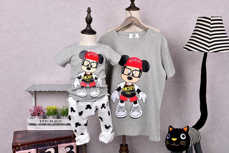 1pcs Summer family matching clothes Cute cartoon matching mother daughter  son clothes Short sleeve family look ... a5e5b413b