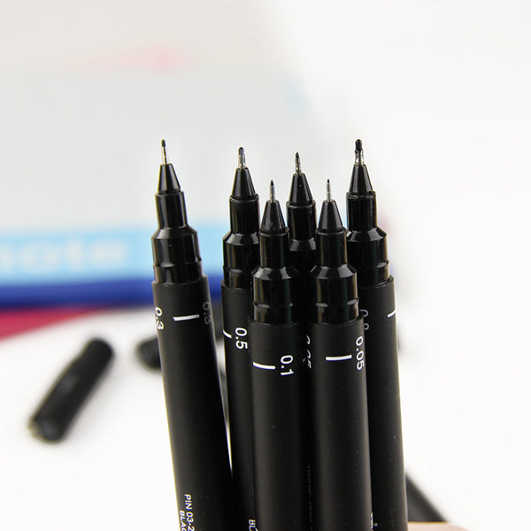 1Pcs Waterproof Drawing Pen Ultra Fine Line Marker Ink Black Pen 005 01 02 03 05 08 Art Markers School Supplies