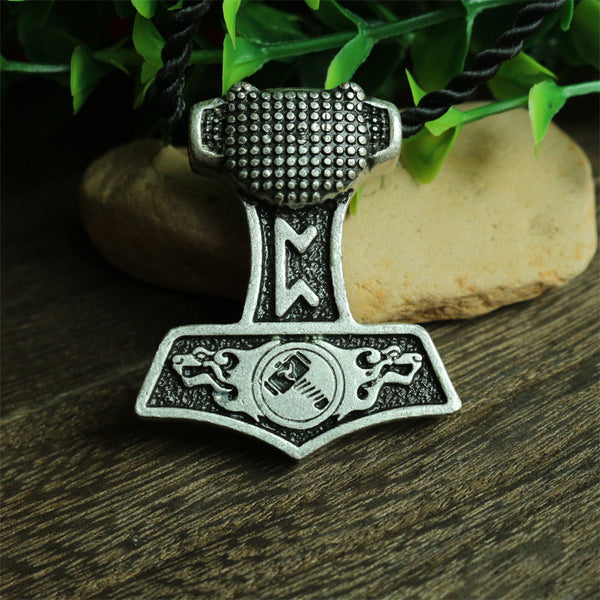 1pcs wholesale norse bear Thor Hammer pendant viking Norway Double Headed wolf necklace men pendant Amulets jewelry