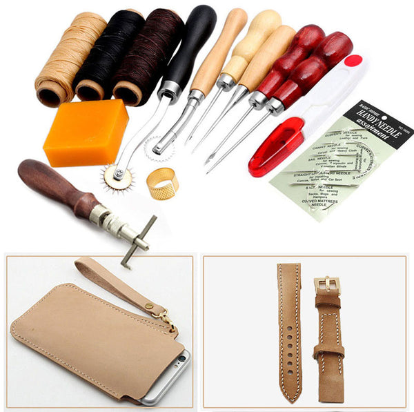 1set 13Pcs Leather Craft Hand Stitching Sewing Tool Thread Awl Waxed Thimble Kit