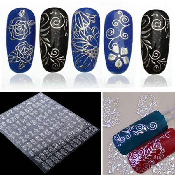 1Set Gold Silver Nail Art Decorations Water Decals Stickers Water Nail Art Stickers Art Nail Stickers Manicure Design