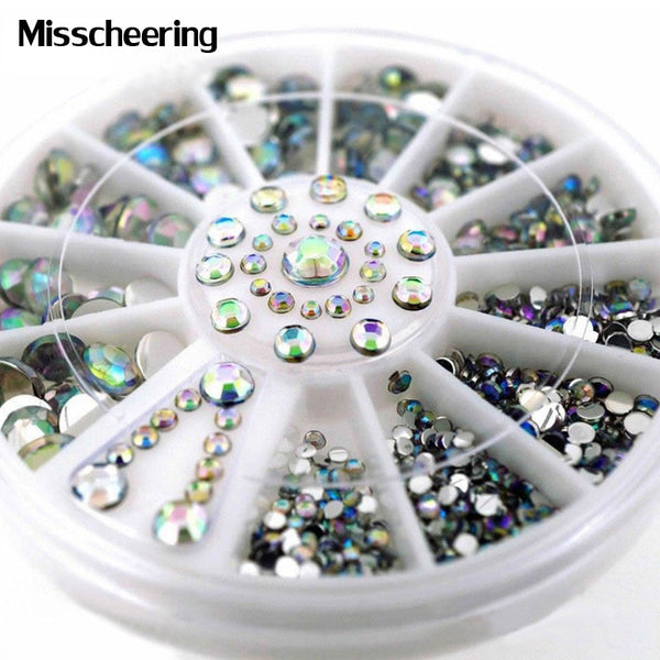 1wheel Mix Sizes Flatback Design Nail Art Decoration Glitter Strass 3d AB Rhinestone DIY Beauty Charm Nail Sticker Tools