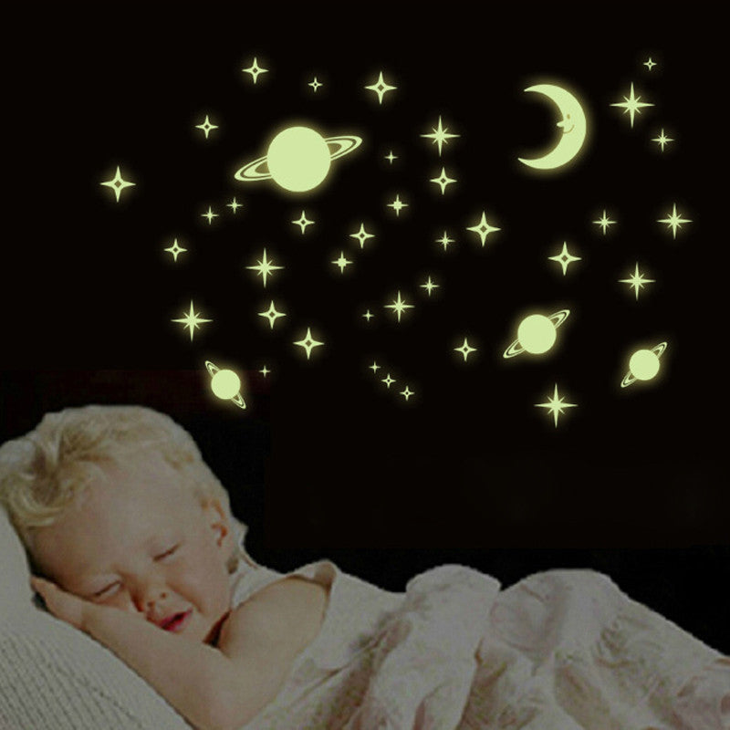 1x3D Fluorescent Wall Stickers For Kids Bedroom Art Wall Decal Moon Luminous Star Glow In The Dark Baby Wall Sticker Home Decor