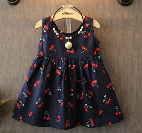 2-11 ages 2016 Summer Girl Dress Casual Dresses Girls Clothes Printing Floral Sleeveless Dress Dress