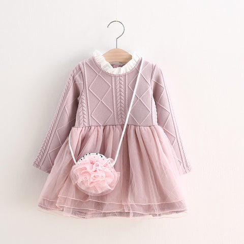2-6 Years Knitted Winter Dress New Kids Tutu Dresses Girl Autumn Winter Long-sleeve Princess Dresses Pink Toddler Clothing