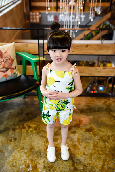 2-6Ages Kids Clothes Girls Set 2016 Brand Toddler Girl Clothing Set Vetement Enfant Fille Lemon Childrens Clothing (Tops+Shorts)