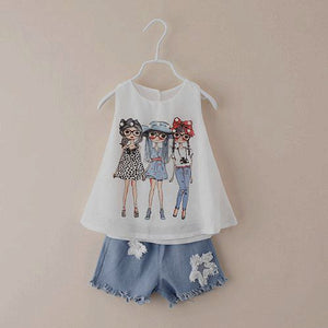 2-7 years girls summer shorts set shirt + denim jeans cowboy clothes girls clothing sets wholesale girls clothing c409