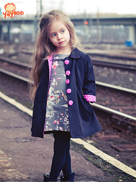 2-7 yrs New 2016 Kids Wind Coats Children Outerwear Fashion Girl Coat Vogue Trench Bowknot Long Sleeve Spring Jacket for Girls