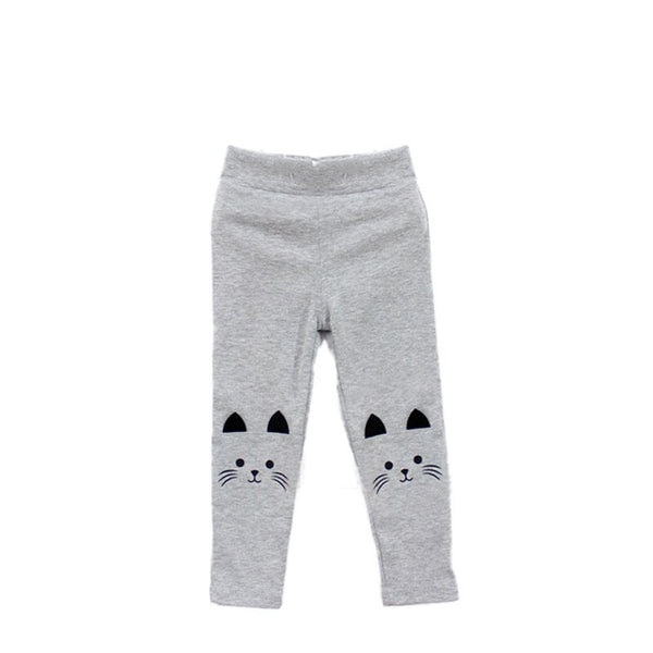 2-7Y Baby Girls Skinny Pants Cute Cat Printed Stretchy Kids Toddler Warm Leggings Capris Trousers
