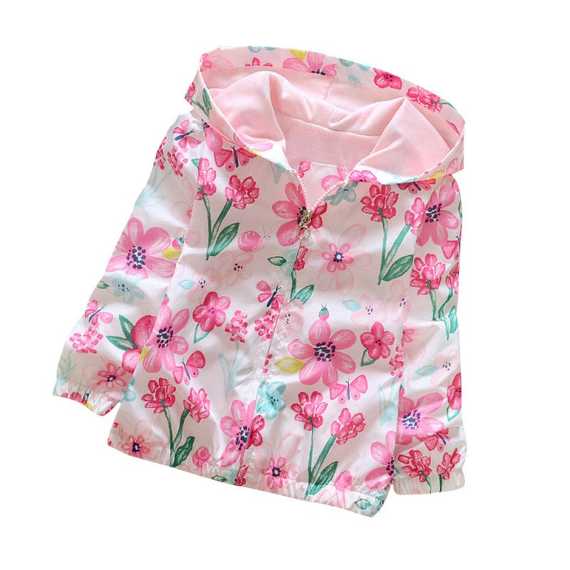 2-7Y Baby Girls Sweet Hoodie Coats Spring Autumn Kids Girls Flowers Printing Camouflage Hooded Jackets Long Sleeve Windbreaker
