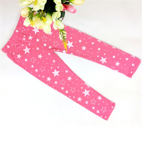 2-7Y Kid Girls Baby Star Printed Stretchy Leggings Trouser Warm Slim Pants
