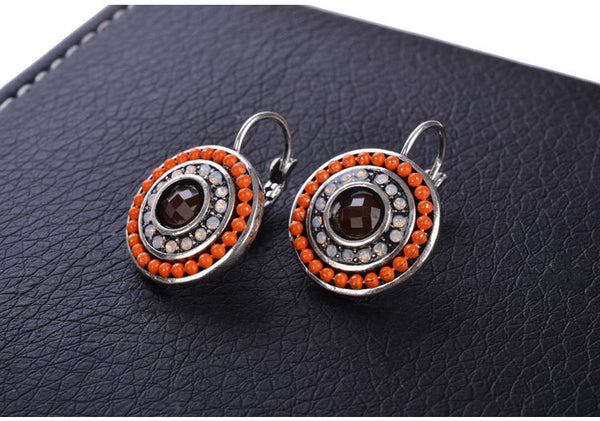 2 Colors Vintage Silver Women Simple Blue Beads Pink Zircon Charms Statement Clip on Stud Earrings for Women Fashion Jewelry