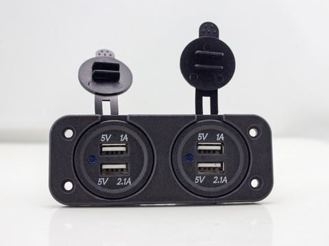 2 Dual USB Ports Car Charger for Motorcycle Scooter ATV Boat 12V 2A Waterproof Socket Power Adapter with Panel