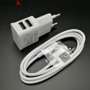 2 in 1 5V 2A USB charger Dual USB EU Plug Wall Charger + micro USB cable for Samsung galaxy S3 I9300 note 3 note4 mobile phone