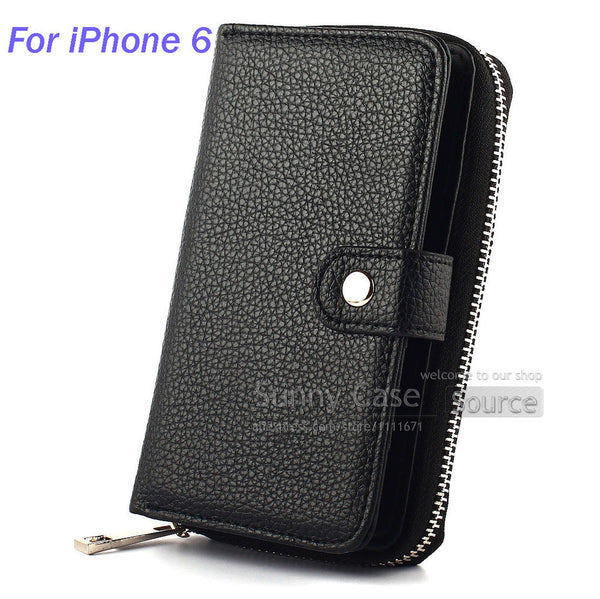 2 in 1 Magnetic Case Cover Card Holder Photo Hand Strap Multi Function Zip Wallet Mobile Phone Bags For iPhone 5S SE 6 6S 4.7''