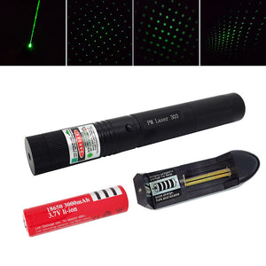 2 in 1 Adjustable Focus 200mw 532nm High Power Green 303 Laser Pointer Pen with 18650 Battery + Charger Hot Sale H026