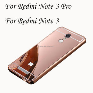 2 in 1 Detachable Metal Aluminum Bumper Frame For Xiaomi Redmi Note 3 Pro Case With Mirror Cover Thin Hard Coque Funda Capinha