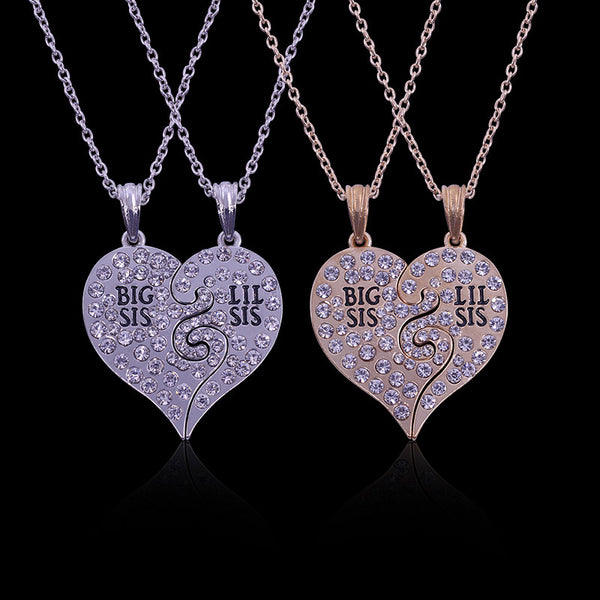 2 PC Set Big Sis Lil Sis Big Sister Little Sister Best Sister Forever Broken Heart Rhinestone Pendant Necklace Sister Gift