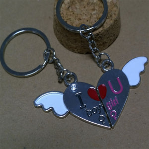 2 PCS Hot Couple Gift Heart Key Keychain Keyring Set Valentines'day Love Gift On Car