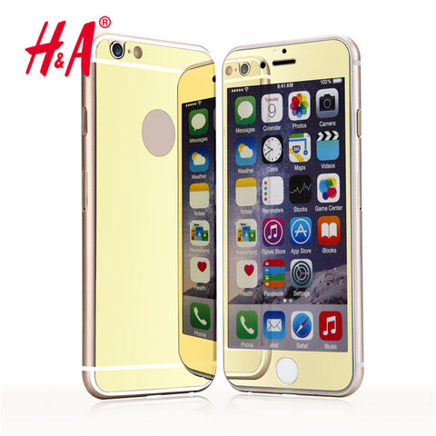 2 pcs lot front + back Premium Mirror Electroplating Tempered Glass Screen Protector Cover Cases For iPhone 7 6 5 5s 4 4s