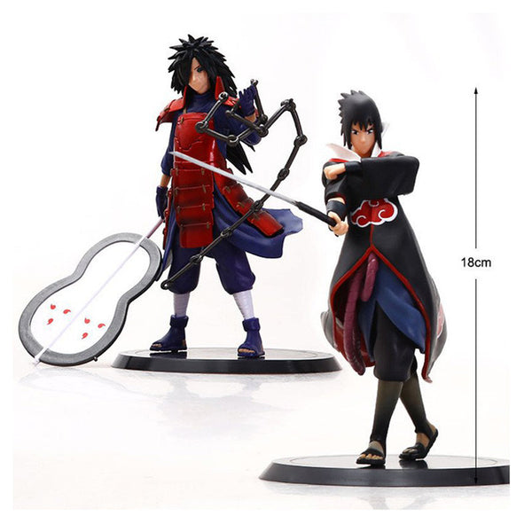 2 Pcs set 18 cm Cool Naruto Action Figures Anime Classic Kids Toys Naruto Sasuke Madara Action Figure for Decoration Collection
