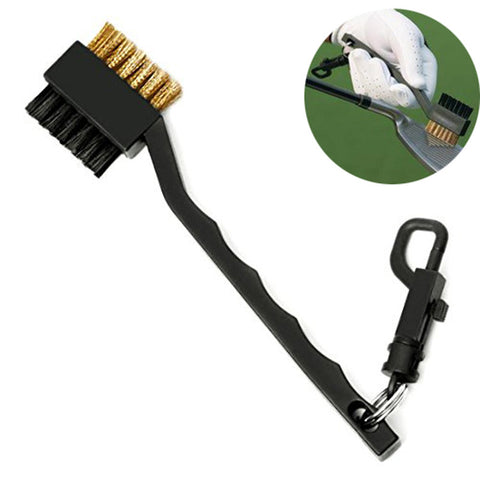 2 Sided Brass Wires Nylon Golf Brush Clip Groove Ball Cleaner Cleaning Kit Tool Useful Free Shipping