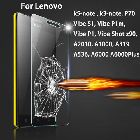 2.5D 9H Toughened Glass for Lenovo vibe shot z90 S1 P1 P1m K5-Note K3-note A319 A536 A2010 A1000 A6000 plus P70 Screen Protector
