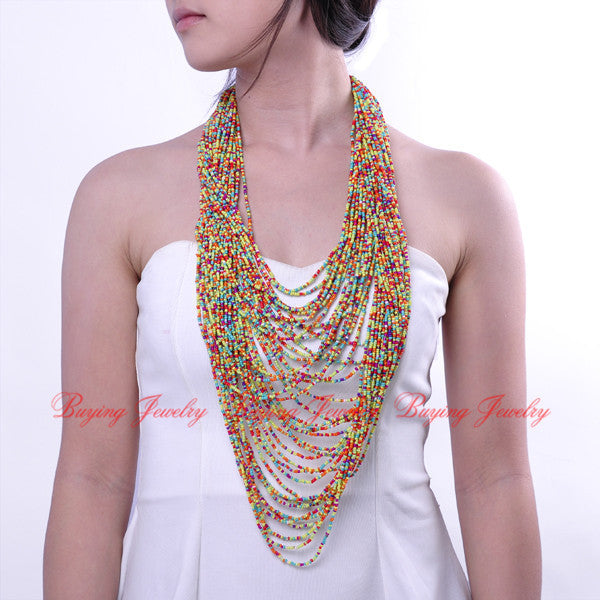 2014 Holidays Perfect Match Handmade Fashion 42 layers Colorful Resin Beads Cluster Long Super Recommend Necklace Free Shipping