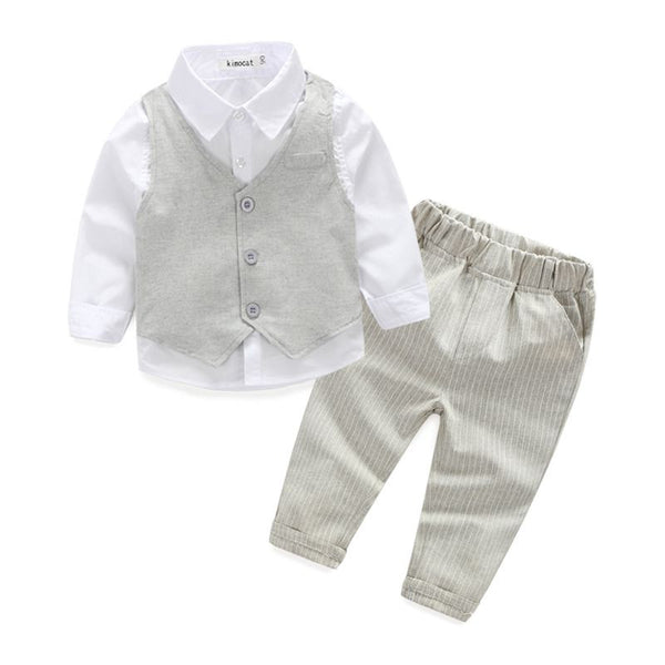 2015 Boys Clothing Sets Autumn Spring Shirt + Vest + Pants Boys Wedding Clothes Kids Gentleman Leisure Handsome Suit Free Ship