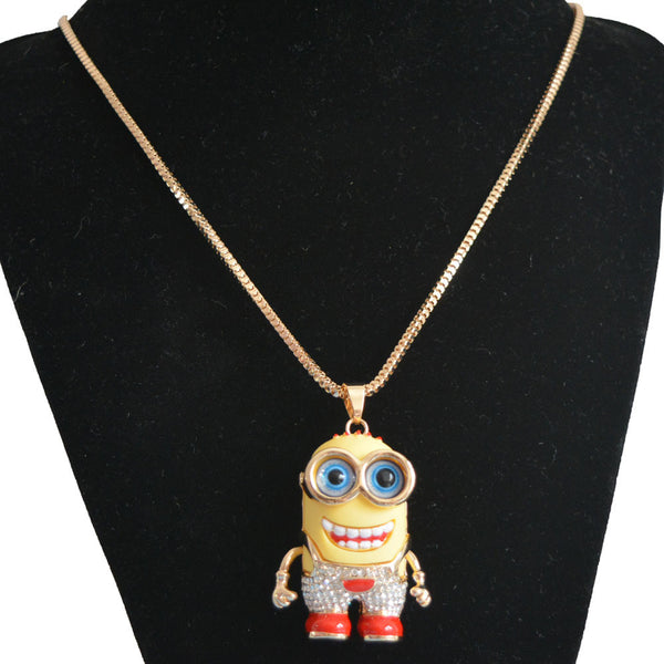 2015 Fashion Little Yellow People Gold Pendant Necklace Crystal Rhinestone Minions Necklace For Women Collier Statement Jewelry