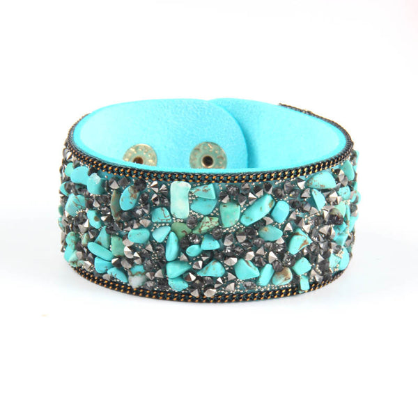 2015 Hot Ssle Fashion women charm wrap Bracelets Slake Leather Bracelets With Crystals Stone Couple Jewelry Size 2.8*21cm