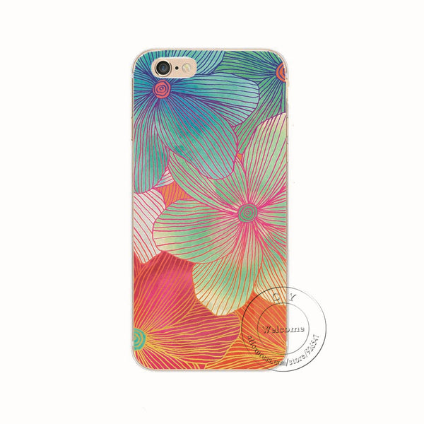 2015 New Fashion Arrival 21 Styles Flowers Painted Plastic Hard Back Case Cover For Apple iPhone 6 6S 4.7""