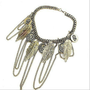 2015 Vintage Multi Layer Feather Chian Necklaces & Pendants Punk Alloy Flowers Chunky Statement Necklace Choker Women Jewelry