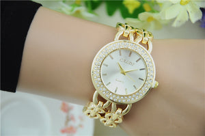 2015 Fashion Casual Clock Gold Stainless Steel Bracelet Watch Women Rhinestone Watches elegant Quartz Wrist Watch relojes mujer
