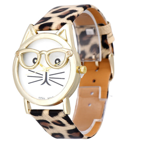 2015 Fashion Montre New Best Women Watch Cute Glasses Cat Pattern Women Analog Quartz Wrist Watch Casual Girl Bracelet Hour