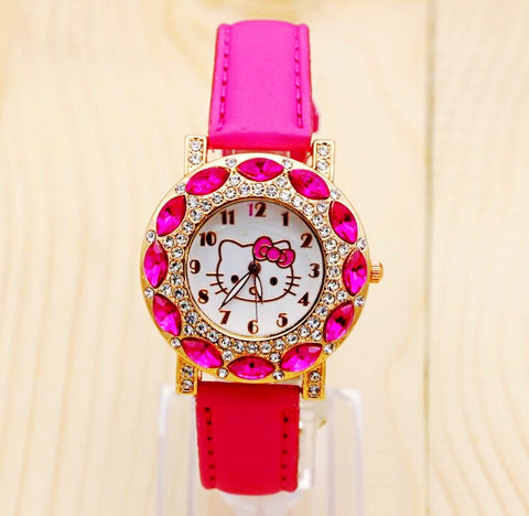 2015 Holiday Sale New Arrival Cheap Lovely Girls Hello Kitty Women Watch Children Fashion Kids Crystal Wrist Watch For Gift