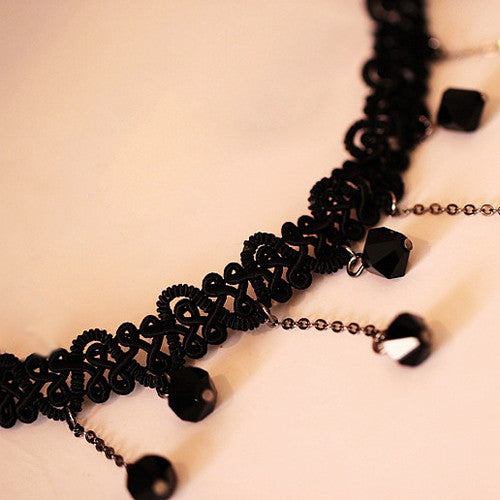2015 hot sell Women Black Beads Pendant Crystal Bib Chain Jewelry Sexy Lace Choker Necklace 56AA
